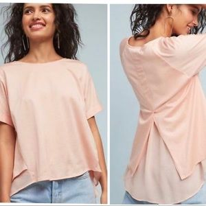 Anthropologie eri + Ali pink cotton and chiffon M